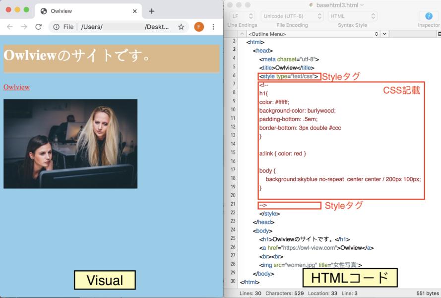 HTMLコード内にStyleタグでCSSを記載